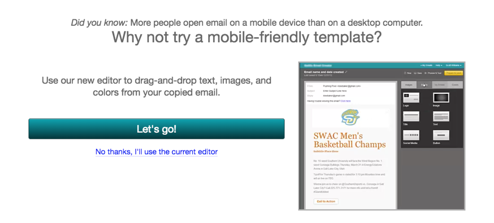 A screenshot of the interstitial that would bring users to the behavioral testing prototype.