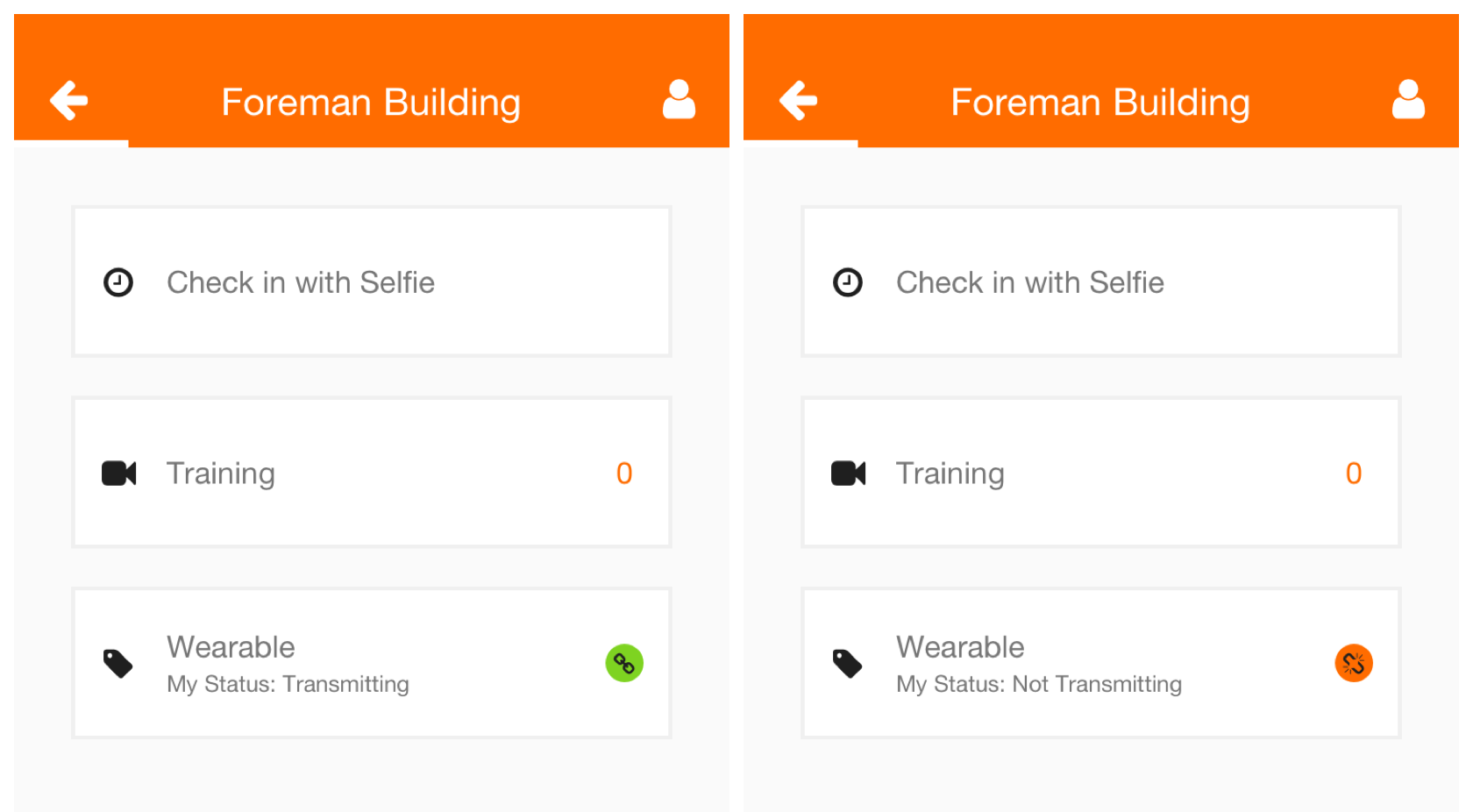 Screenshots of the wearable provisioning statuses.